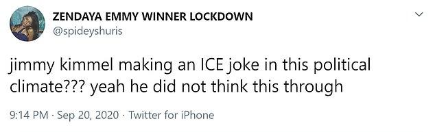 Twitter user: Jimmy Kimme;  Are you making an ICE joke in this political context ???  Yes he did not think this