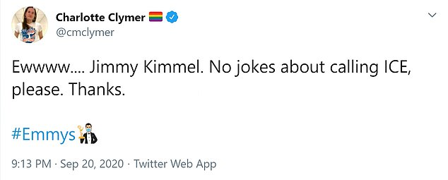 Charlotte Climmer: 'Jimmy Kimmel.  No jokes in calling ICE please.  Thanks'