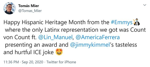 Hispanic Traditional Monthly Greetings from # Emmy, the only Latin representation we have received is Count van Count ft.  Lynn's Guide [and] USA Ferreira presents an award and Jimmy Kimmel's tasteless and hurtful ICE comedy '
