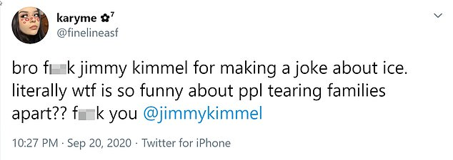 One Twitter user found Kimmel's joke inappropriate and asked, 'What's so funny about people breaking up families?'