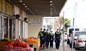Police at the Foodscree Market in Melbourne, Victoria Australia on September 20, 2020.