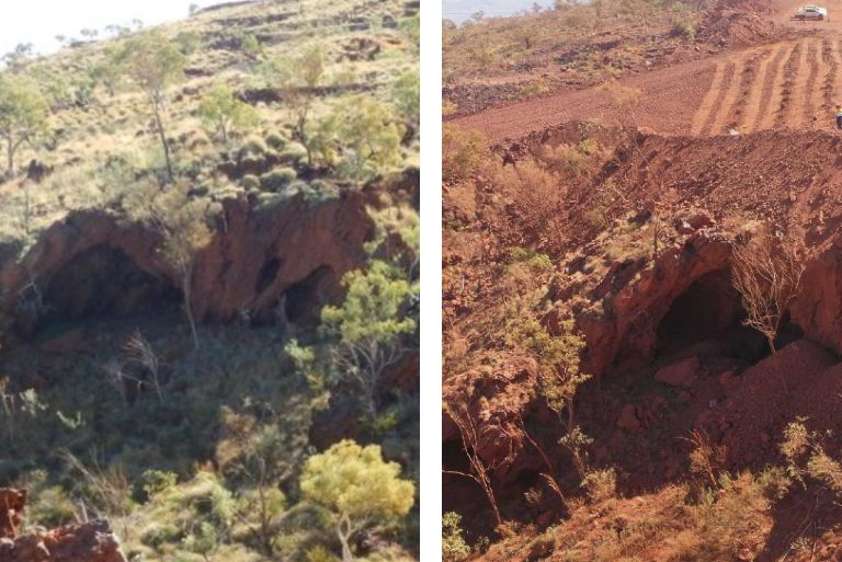 A collective picture showing Jukan George on the left in 2013, and then in 2020 on the right, the land cleared of vegetation.