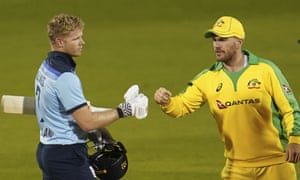 England captain Sam Billings congratulates Australia captain Aaron Pinch on his victory