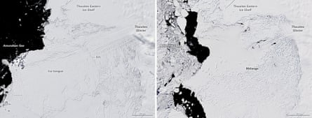 Mixed image of the Dwights Glacier taken on 2 December 2001 (left) and 28 December 2019.  The photos show the changes that have taken place since the beginning of this century.