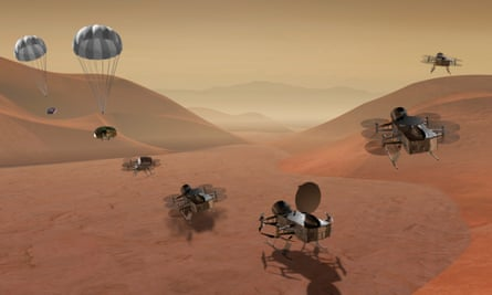 An artist's rendering dragonfly shows multiple shots of a double-quadcopter drone exploring Saturn's moon Titan.