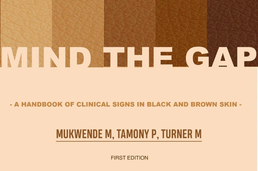 "The cover of an ebook called ""Mind the Gap"" which shows a range of fair to dark skin."