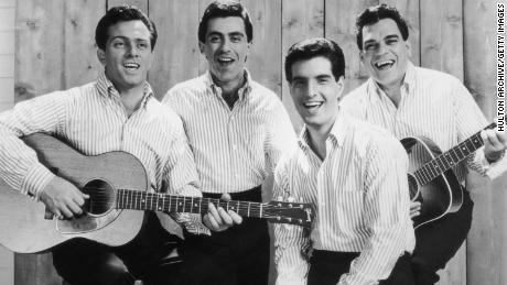 This promotional portrait of The Four Seasons in 1965 shows Tommy Tivito, Frankie Valli, Bob Guardio and Nick Masi from left.