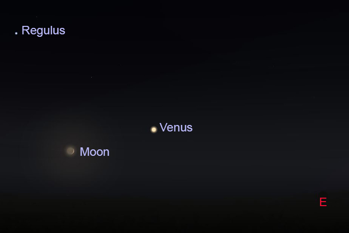 Star chart showing the position of Venus, Crescent Moon and Regulus