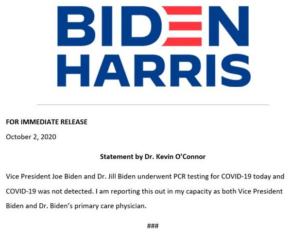 The Biden campaign sent out a note from Joe and Jill Biden's primary care physician, which said Covid-19 was 'undetected'.