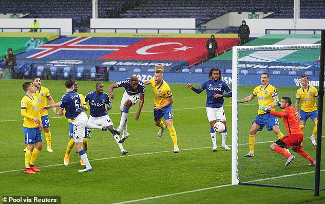 Jerry Mina diverted to his own header in the first half to regain Everton's lead