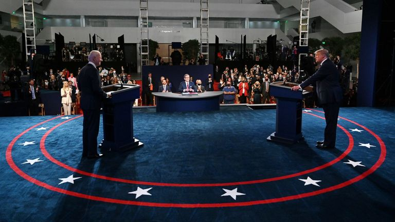 US President Donald Trump (R) and Democratic presidential candidate Joe Biden attend the first presidential debate on September 29, 2020 at the Case Western Reserve University and Cleveland Clinic in Cleveland, Ohio. (Photo by Oliver DOULIERY / POOL / AFP) (Photo by OLIVIER DOULIERY / POOL / AFP via Getty Images)