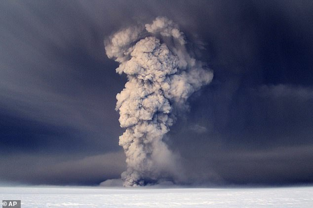 Smoke billows from the Grimswort volcano, located about 120 miles (200 km) east of the capital, Reykjavik, under the Watnajokul Glacier, which erupted in 2011.