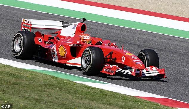 Mick Schumacher driving his father's Ferrari F 2004 at a show run at the Tucson Grand Prix
