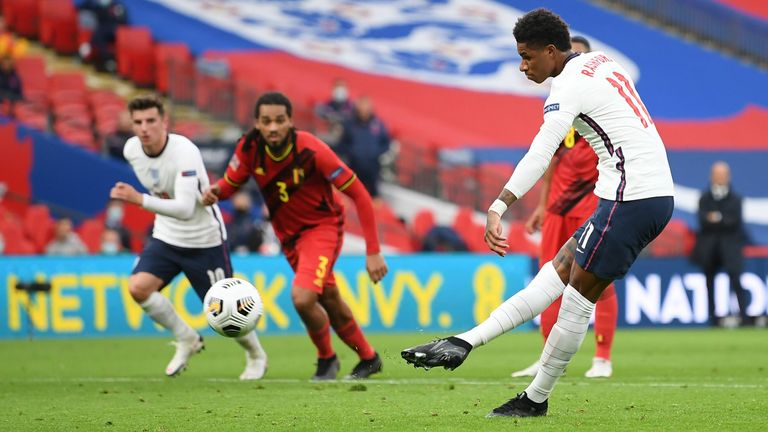 Marcus Rashford equals England against Belgium from penalty spot
