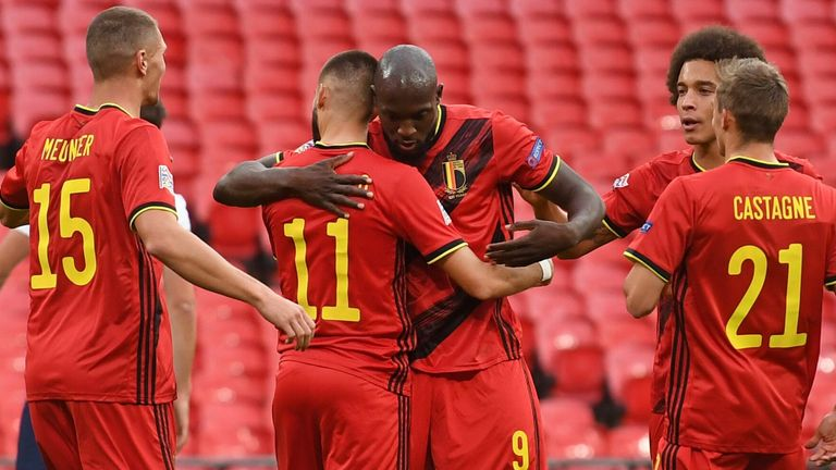 Romelu Lukaku celebrates after leading Belgium from a penalty spot at Wembley