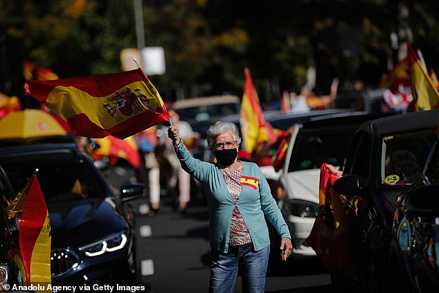 Protesters take to the streets of Madrid on Monday