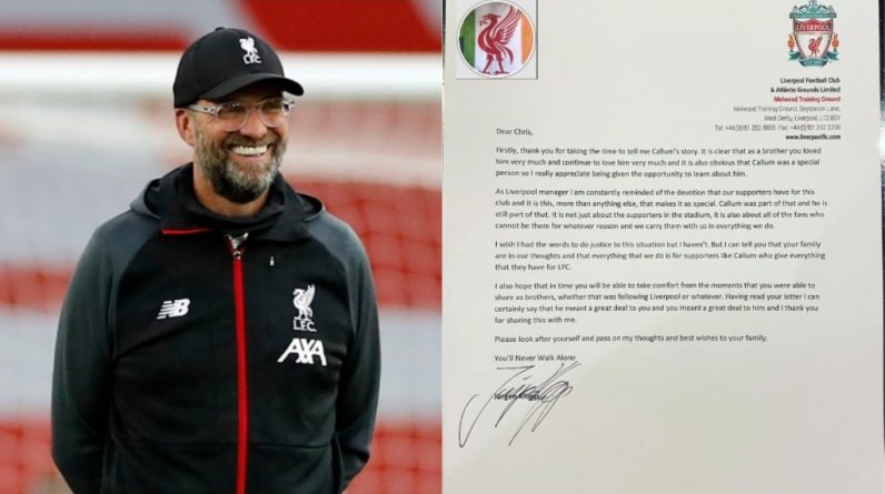 Jurgen Globe writes emotional letter to Irish Liverpool fan after learning of brother's tragic death