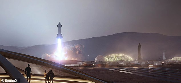 Mr. Musk commented on Zoom during the International Mars Society Conference on October 16, 2020.  Mars is a global non-profit organization founded by the United States that works to improve the exploration and migration of the Red Planet.  Image, artist's idea of SpaceX starship starting from a Mars settlement