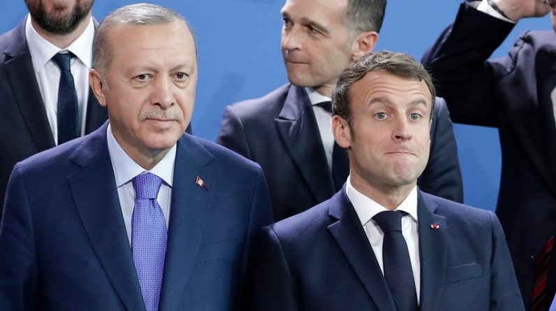 A file photo of Turkish President Recep Tayyip Erdogan and French President Emmanuel Macron.