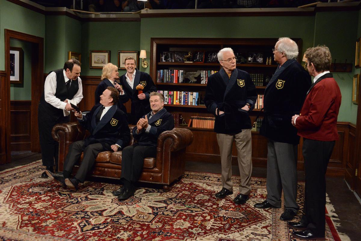 Don Aykroid, Tom Hanks, Candice Bergen, Justin Timberlake, Alec Baldwin, Steve Martin, Chevy Chase, Martin Short
