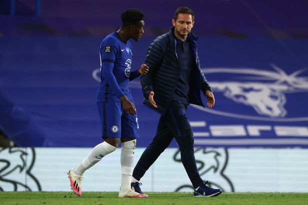 Frank Lampard talks to Hudson-Odo during the period