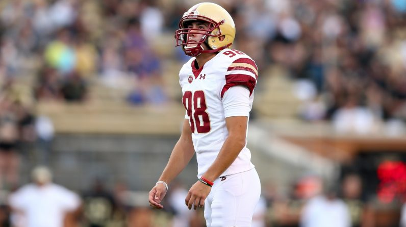 Boston College kicker John Tessitore, the son of ESPN broadcaster Joe Tessitore