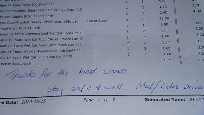 Coles delivery driver sends heartfelt message on Melbourne shopper's receipt