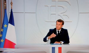 Emmanuel Macron announces new corona virus controls, including a curfew order in Paris.
