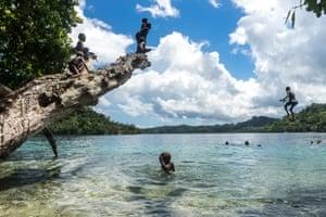 Swimming file photo of children swimming in the Solomon Islands