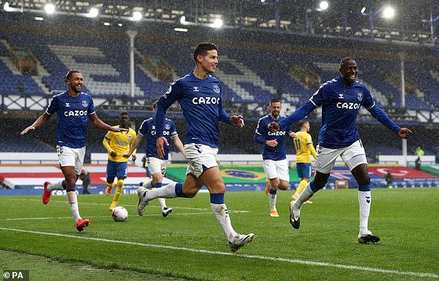 James Rodriguez scores second and third Everton goals as hosts beat Brighton