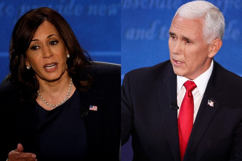 Mixed film by Kamala Harris and Mike Pence