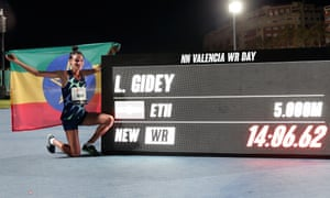 Ethiopia's Lettesenpet Gide set a world record in the women's 5,000 meters in 14 minutes 6.62 seconds.