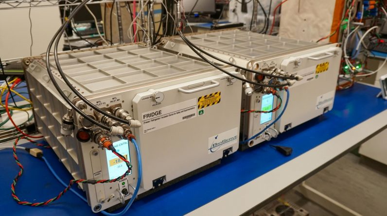 The International Space Station receives its first space refrigerator