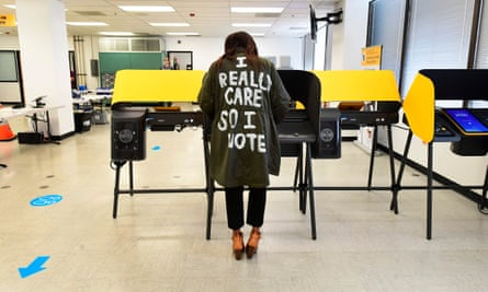 """When Donya Swine voted in Norwich, California, wearing a coat that reflects what Melania Trump wore in 2018, she said, """"I don't really care.  Do you?  """""""