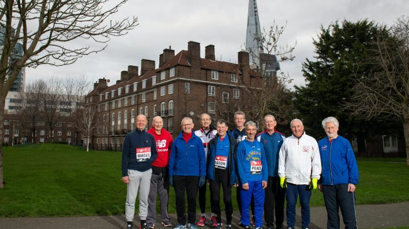 Who are the presenters running their 40th London Marathon on Sunday?