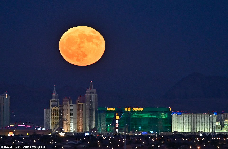 A full Hunter Moon rises on the Las Vegas Strip on October 31st.  This is the second full moon of the month called the Blue Moon