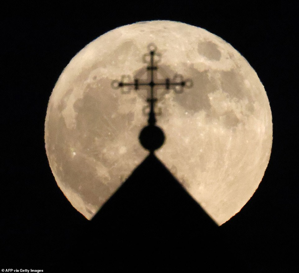 The moon was clearly visible in many cities around the world, including this scene captured by Israel in Jerusalem