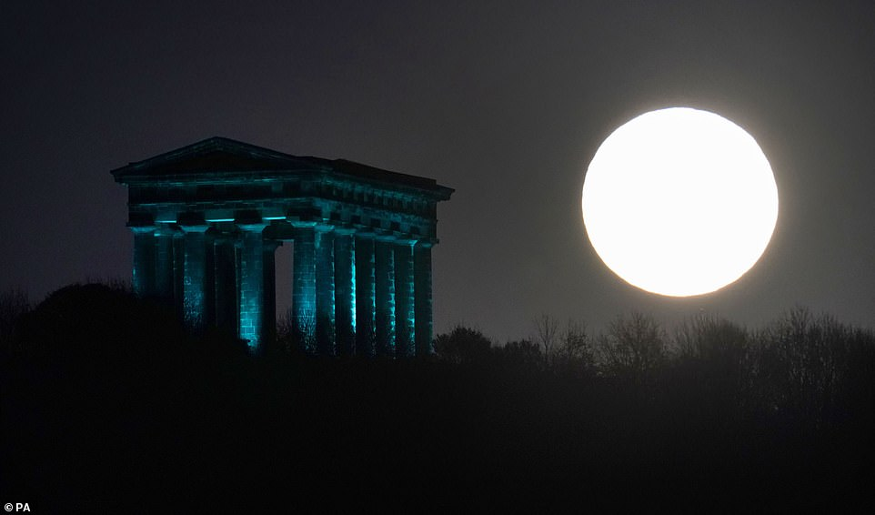 The last time the UK saw a Halloween moon was in 2001, before that it was in 1955.  Image: Moon above the Benza Monument in Sunderland