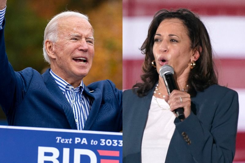 Joint film of Biden and Kamala Harris speaking at events.