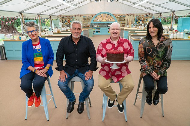 Shoot: This week's episode sees contestants battling in the 80th week to get a place in the quarterfinals (pictured with Judges Paul and Brew Leath with Matt Lucas and Noel Fielding).