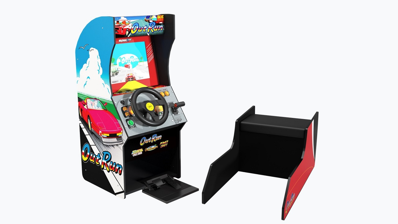 The Arcade 1 Up Out Run cabinet has four driving games including a reliable control program, removable bench and Sega Classic.
