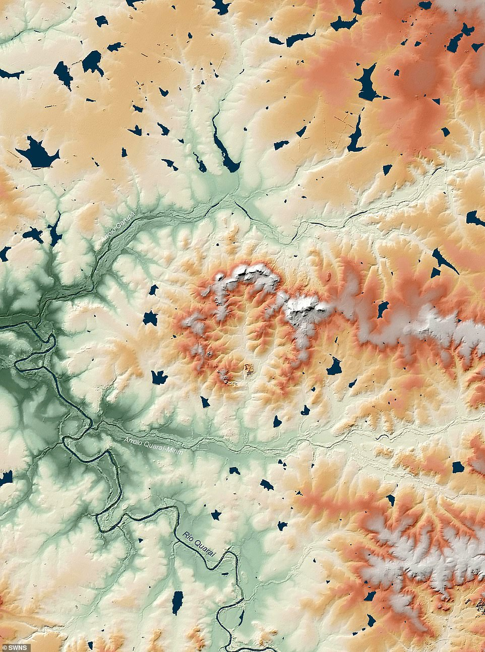 The measurements helped them create a digital topographic model of each known abyss, including the Manicogan Gorge in Canada and the Cerro do Jaraw (pictured) in Brazil.