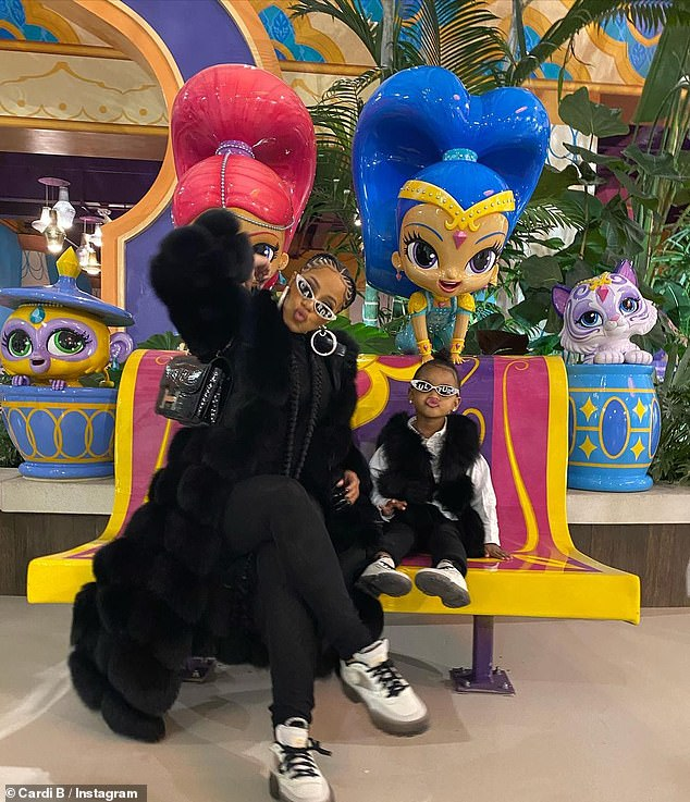 Modeling: Carty and her beloved two-year-old daughter Culture, who she shares with her husband Offset, 28, recently modeled trendy sneakers on Instagram;  Cardi and Culture film on November 3rd