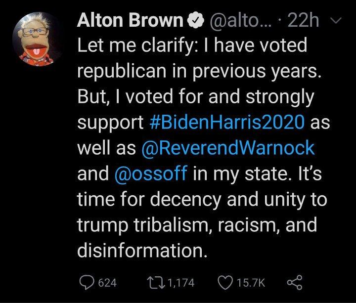 Alton Brown's tweet