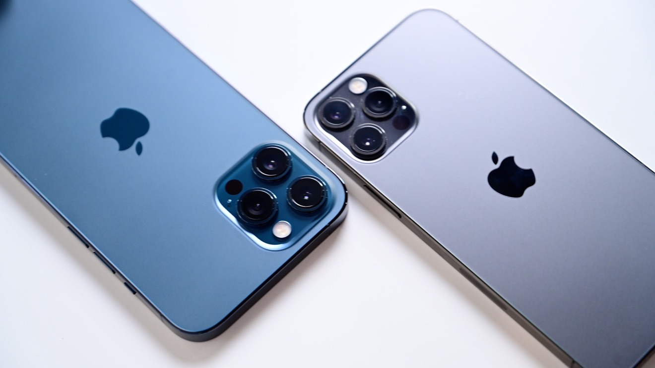 Compares iPhone 12 Pro Max and iPhone 12 Pro camera modules