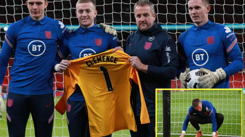 England goalkeepers Jordan Pickford, Nick Pope and Dean Henderson pay tribute to Ray Clemens after the deaths of Liverpool and Tottenham legend