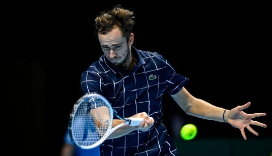 Daniel Medvedev of Russia scored a forehand against Novak Djokovic of Serbia on the 4th day of the NITO ATP World Tour Final on November 18, 2020 at The O2 Arena in London, England.