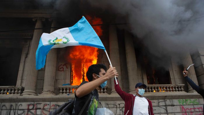 Protesters set fire to a Congress building in Guatemala in connection with budget cuts