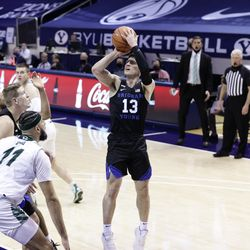 Alex Barcello (13) of BYU was shot when the Cooks won 82-60 against the Utah Valley Wolverines at the Marriott Center in Provo on Saturday, November 28, 2020.