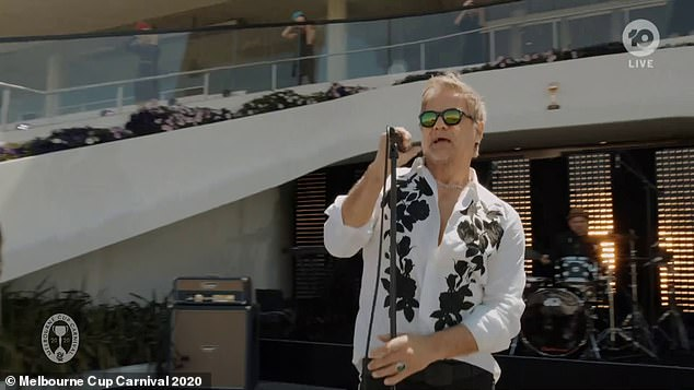Pre-Racing Entertainment: John Stevens performed the emotional scene of the classic INX song Never Dear except us at the Melbourne Cup on Tuesday afternoon.